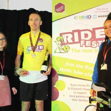 Jason Evans Of Curtis Banks – Ridefest Champion – With Jazmin Peach And Shay Abdul From St Elizabeth Hospice.